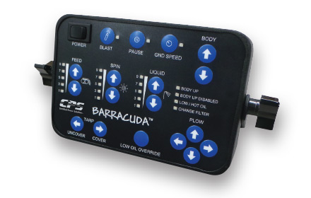 Barracuda™ integrated plow and spreader control system control unit used by snowplow trucks for snow and ice removal