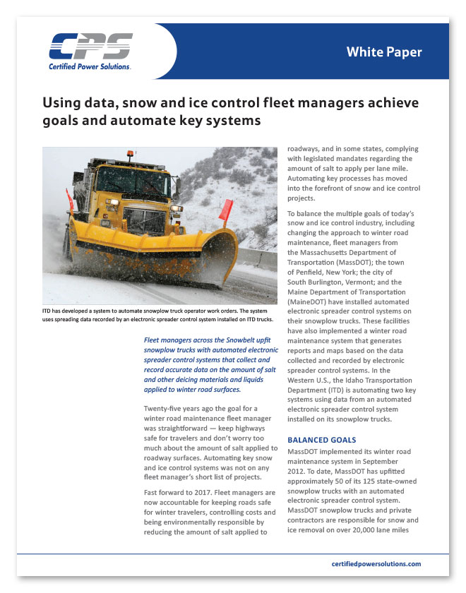 CPS white paper on how snow and ice fleet managers use data
