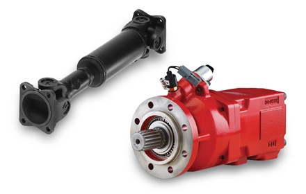 Driveline and PTO pump drive options used in snowplow trucks for snow and ice removal
