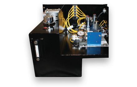 Enclosures and reservoirs used by snowplow trucks for snow and ice removal