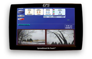 SpreadSmart Rx™ electronic spreader control system 10-inch dual display used by snowplow trucks for snow and ice removal